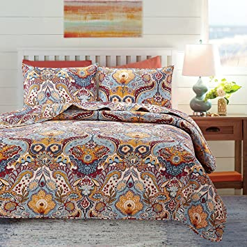 Skipper Furnishings Quilted and Reversible Microfibre Double Bed Spread and 2 Pillow Covers - Paisley, Multicolour