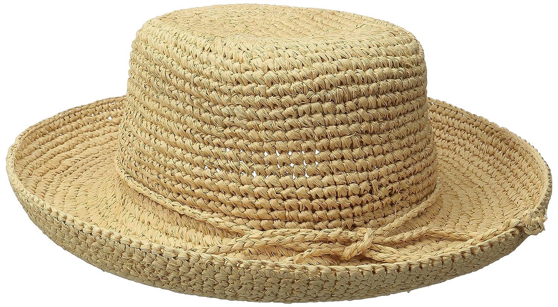 3714b7026 SCALA Women's Crocheted Raffia Hat with Drawstring