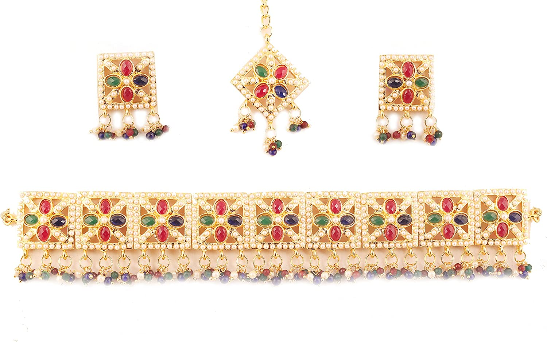 Touchstone Royal meena collection estilo tachonado rojo imitación rubí esmeralda azul zafiro y perlas de imitación collar de gargantilla nupcial para mujer Tono dorado
