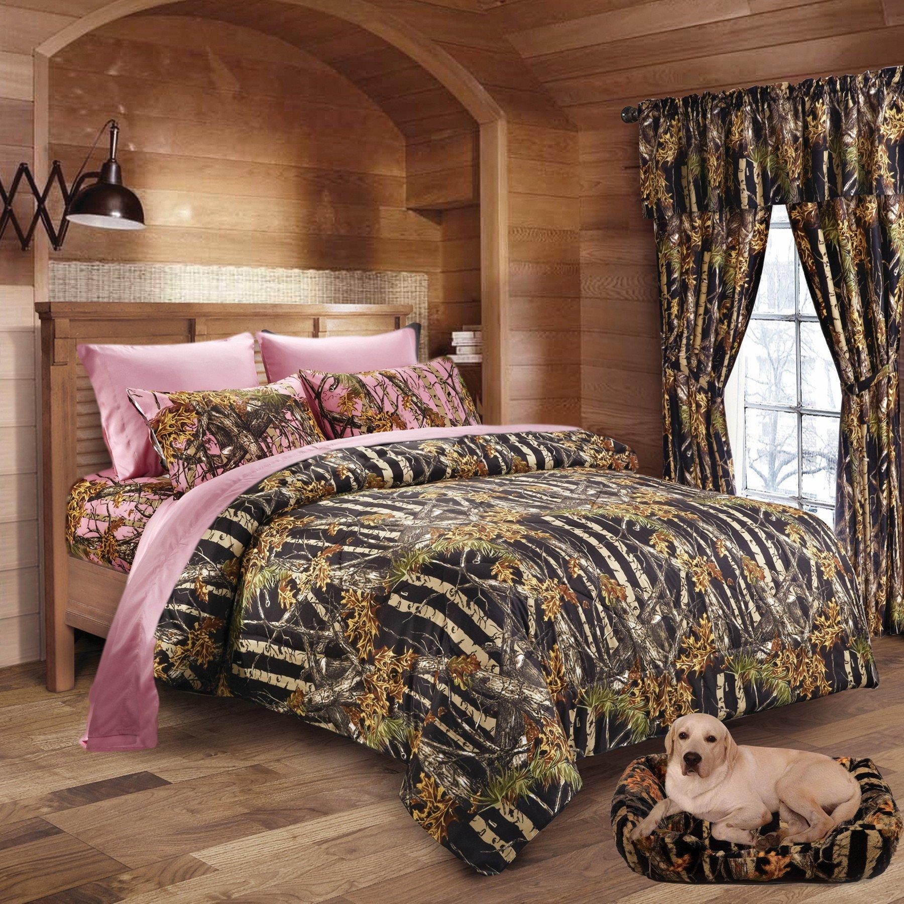 20 Lakes Girls Black & Pink Hunter Camo Comforter, Sheet, Pillowcase Set (Cal King, Black/Pink)