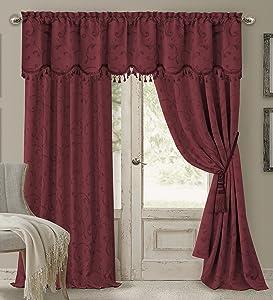 "Elrene Home Fashions 26865901474 Blackout Energy Efficient Room Darkening Rod Pocket Window Curtain Drape Regal Jacquard Woven Panel, 52"" x 84"", Rouge, 1"