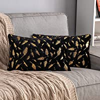 MIULEE Pack of 2 Decorative Throw Pillow Covers Plush Faux Fur with Gold Feathers Gilding Leaves Cushion Covers Cases…