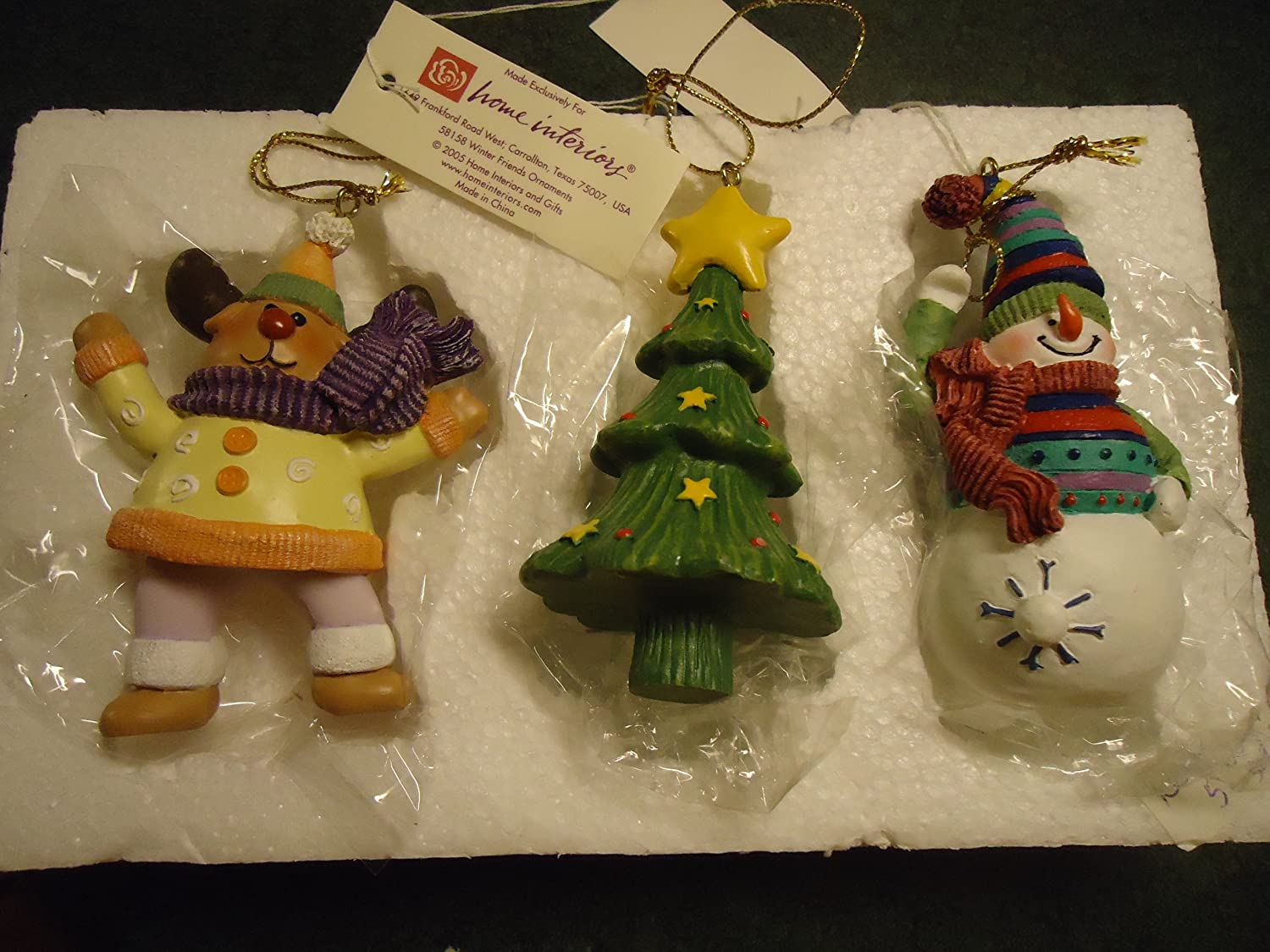 Amazon.com: Home Interiors Set Of 3 Christmas Ornaments   Reindeer, Tree,  Snowman: Home U0026 Kitchen