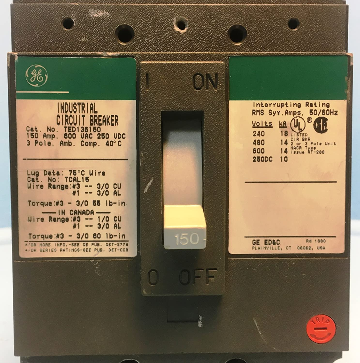 General Electric Ted136150 Circuit Breaker 3 Pole 600vac 150a 4 Wire Schematic Diagram 480 Volt Industrial Scientific