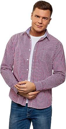 oodji Ultra Hombre Camisa Entallada con Bolsillo en el Pecho