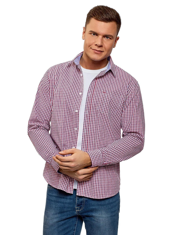 oodji Ultra Hombre Camisa Entallada con Bolsillo en el Pecho: Amazon.es: Ropa y accesorios