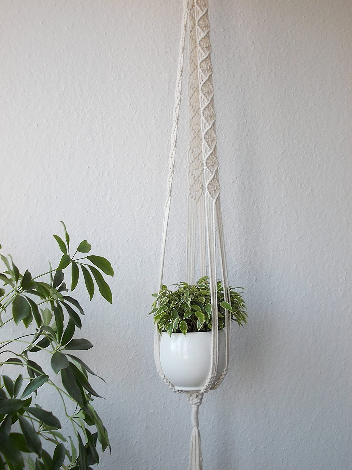 Macrame plant hanger or hanging table