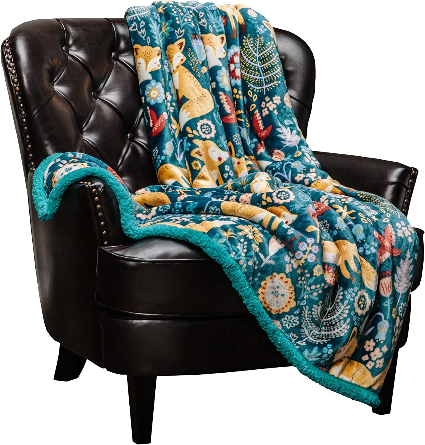 Chanasya Gold Fox Lush Nature Vibrant Color Print Gift Throw Blanket - Super Soft Cozy Snuggly Luxurious Chick Plush Sherpa for Birthday Kids Bed Couch Sofa Chair Office (Queen) - Teal Blue