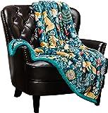 (170cm x 130cm , Gold-fox-blue) - Chanasya Super Soft Ultra Plush Gold Fox Teal Blue Navy Bright Vibrant Colour Print Sherpa Bed Couch Sofa Microfiber Throw Blanket( 130cm x 170cm )- Blue Fox Lover
