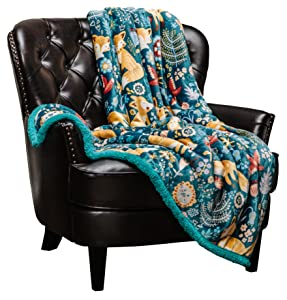 Chanasya Gold Fox Lush Nature Vibrant Color Print Decorative Fleece Throw Blanket - Super Soft Cozy Snuggly Luxurious Chick Plush Sherpa for Bed Couch Sofa Chair Office (50 x 65 Inches) - Teal Blue