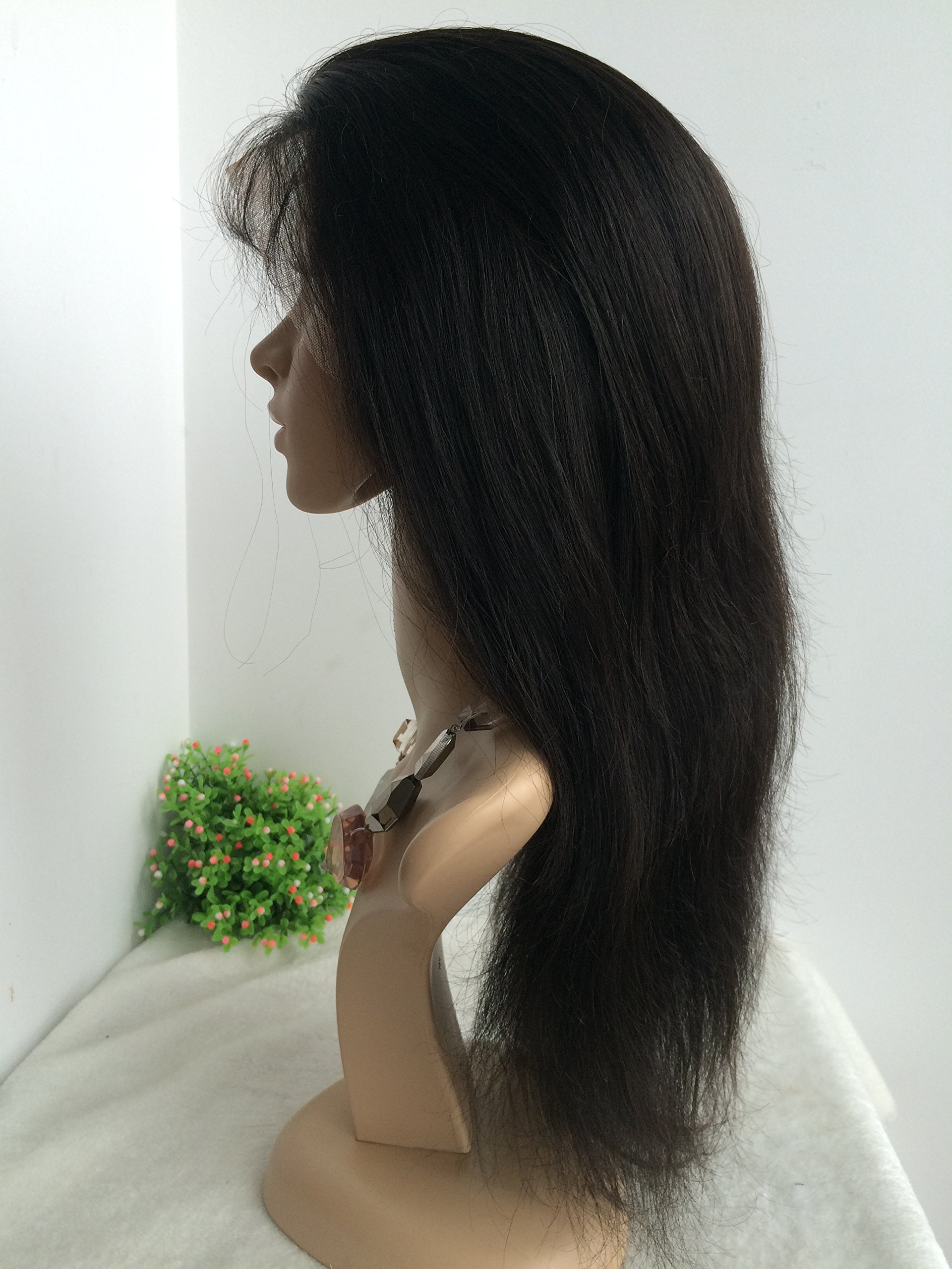 16 INCH,NATURAL COLOR,CHINESE VIRGIN SILK STRAIGHT FULL LACE SILK TOP WIG