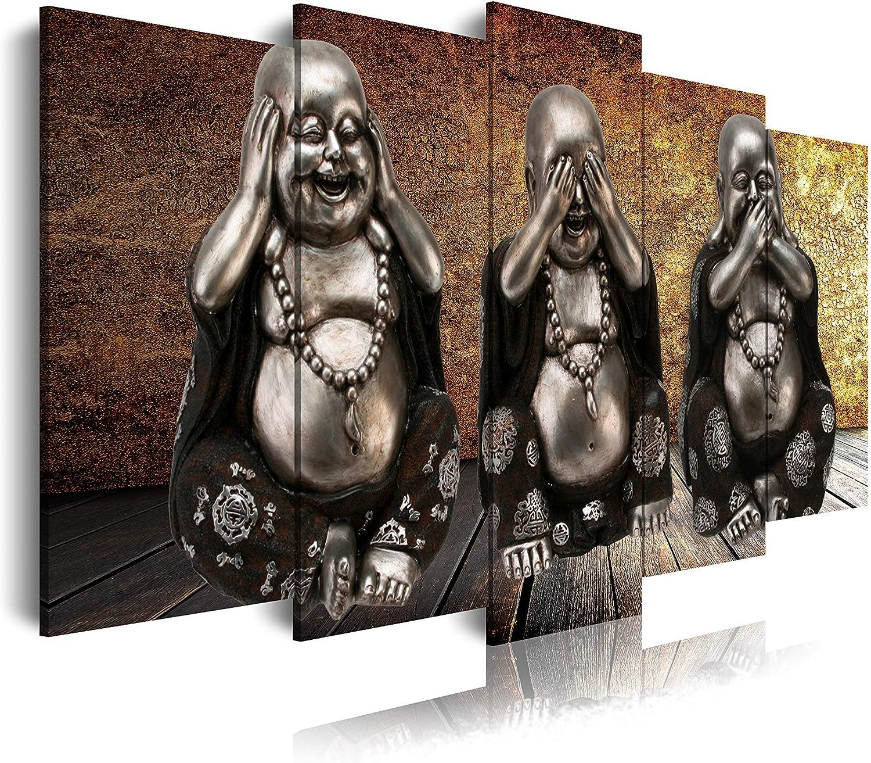 DekoArte - Cuadros Modernos Impresión de Imagen Artística Digitalizada | Lienzo Decorativo Para Tu Salón o Dormitorio | Estilo Zen con 3 Budas Ver Oír y Callar Fondo De Madera | 5 Piezas 150 x 80 cm