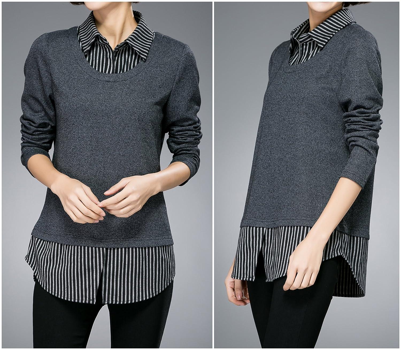 Luna et Margarita Übergröße Grau langärmeliges Bluse mit Streifen schein- zwei-Kleidung: Amazon.de: Bekleidung