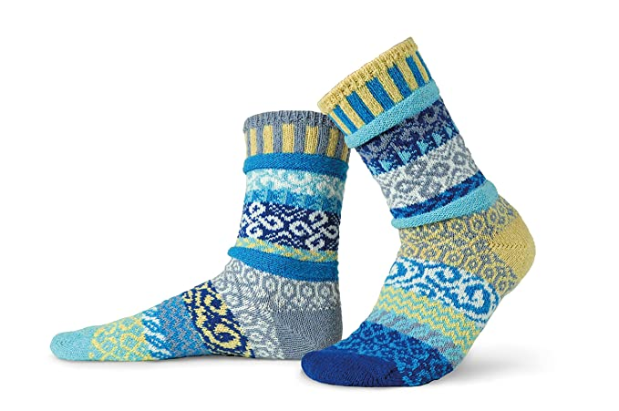 Solmate Socks, Mismatched Crew Socks, Made in USA with Recycled Cotton Yarns made in New England