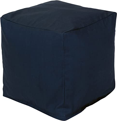 Majestic Home Goods Navy Blue Solid Indoor/Outdoor Bean Bag Ottoman Pouf Cube 17″ L x 17″ W x 17″ H