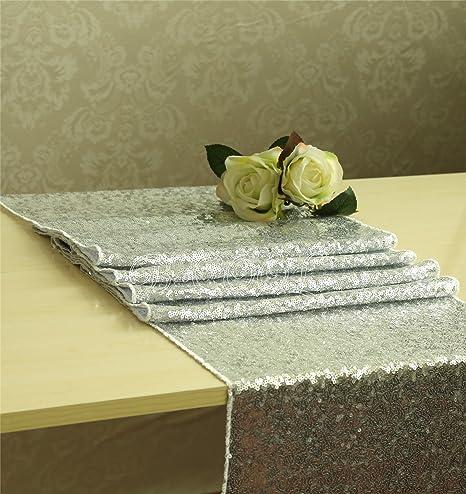 Plata lentejuelas camino de mesa ropa de cama, paño de tabla, tela ...