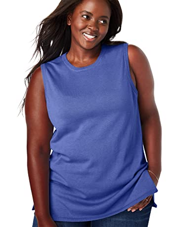17d5e62a7b5 Women's Woman Within Plus Size Fine Gauge Sleeveless Crewneck Shell