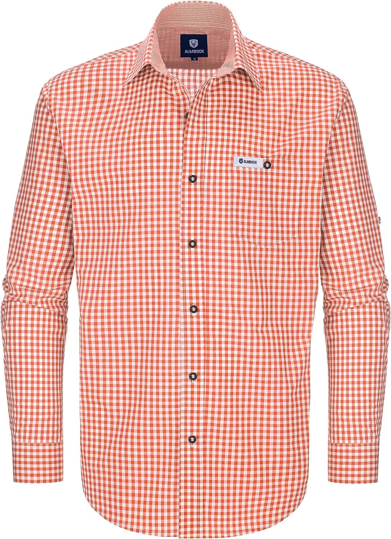Almbock Trachtenhemd Herren kariert Slim-fit M/änner Hemd in vielen Karo Farben Hemd aus 100/% Baumwolle in den Gr/ö/ßen S-XXXL