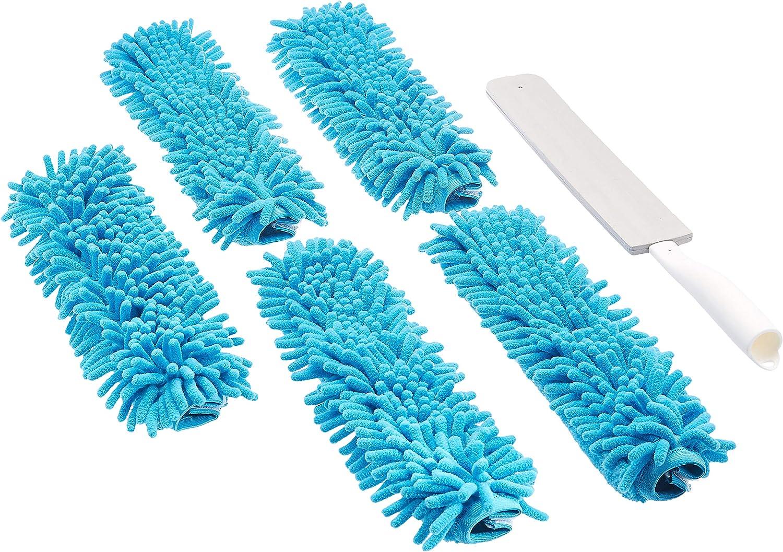 bleu et blanc Basics Plumeau en chenille 3 tampons
