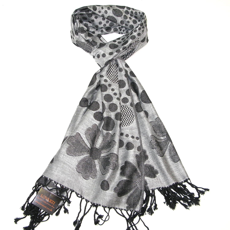 LOVARZI Getupfte Damen-Schal Reversierbarer Frauen Schal in getupfte und gebl/ümter Design