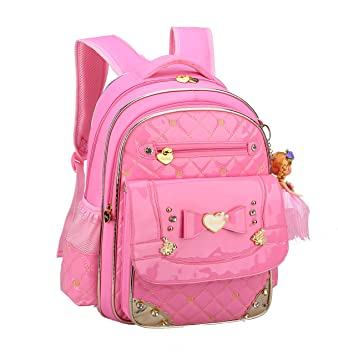 Amazon.com   Bookbag for Girls, Gazigo Waterproof Kids Backpack with bows  Back to School Gifts (Pink Diamond Backpack, Large)   Kids  Backpacks cd9a19e75a