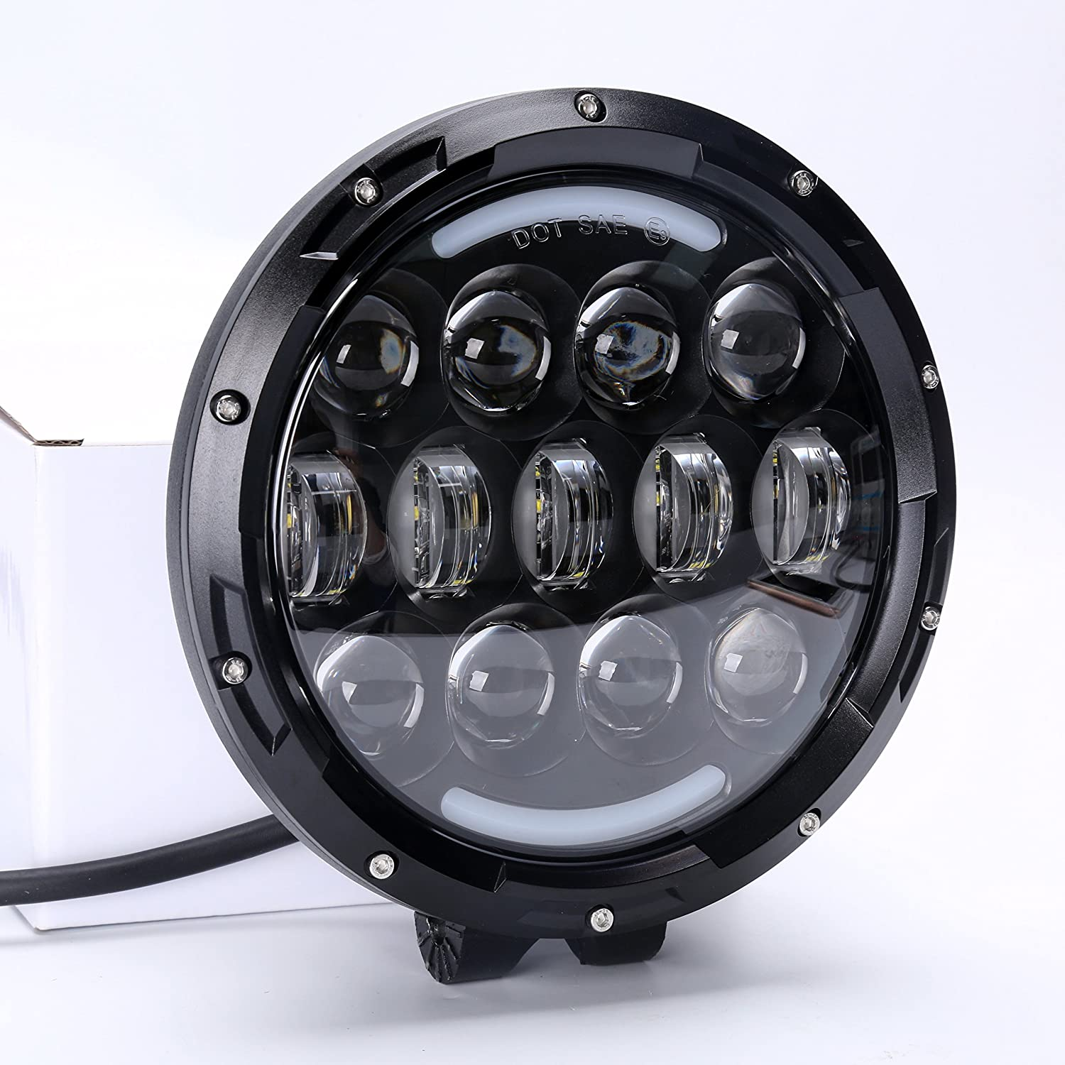 Construction Hunters Jeep Truck SUV Brightest Driving Lights 105W 2Pcs 7 Inch Round LED High//Low Beam Work Light Off Road Driving Light Waterproof for Offroader ATV Car Camping