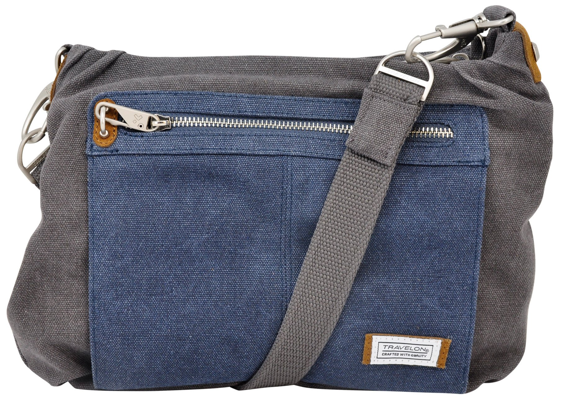 Travelon Anti-theft Heritage Hobo Bag (One Size, Pewter/Indigo)