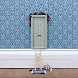 Fairy Door - Magical Little World's Best Sage Green Fairy Door kit with ladder and fairy door mat for your child's room - perfect for bringing fun, adventure and magic to your home