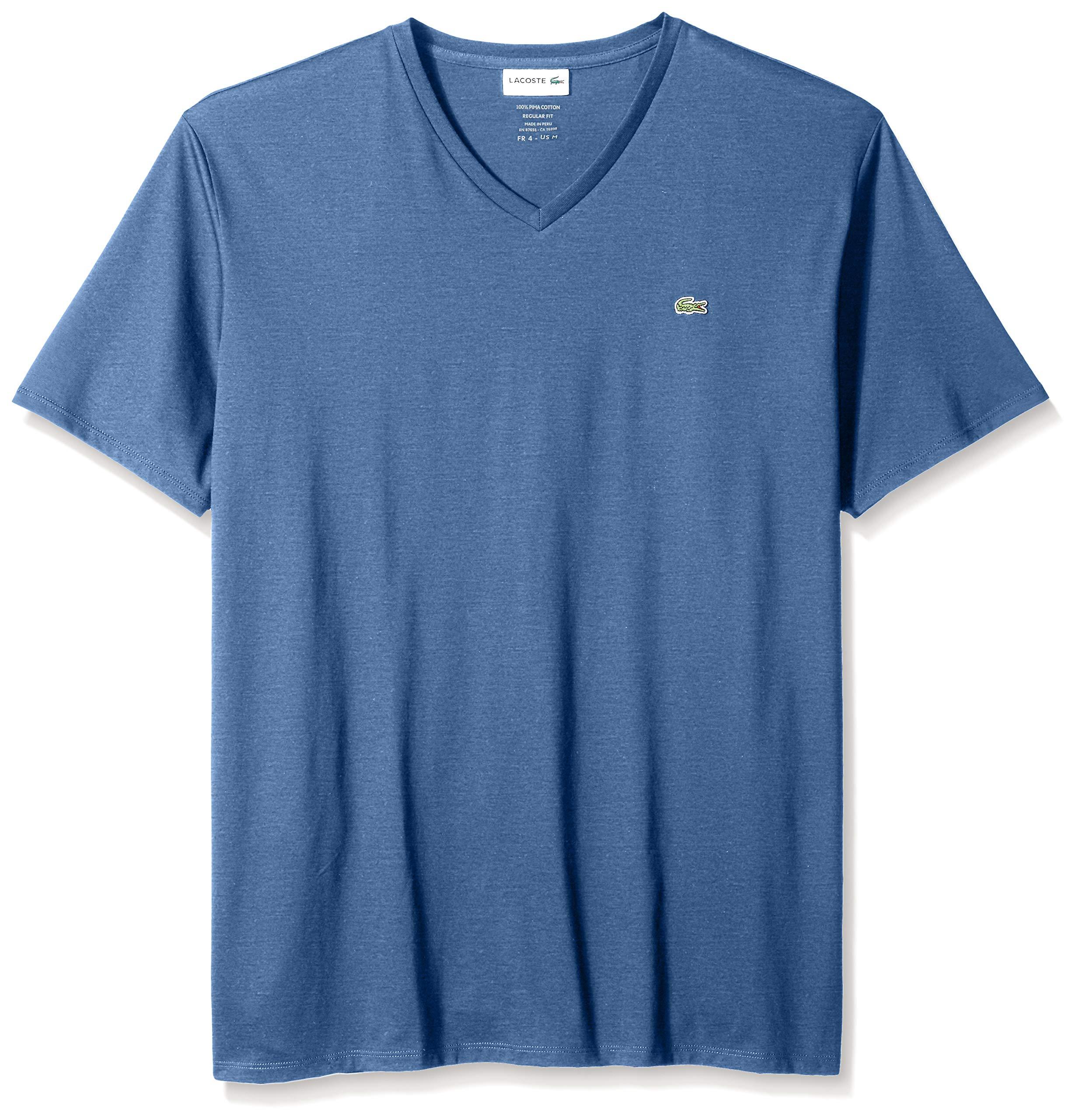 Lacoste Men's Short Sleeve V-Neck Pima Cotton Jersey T-Shirt, Alby Chine, M