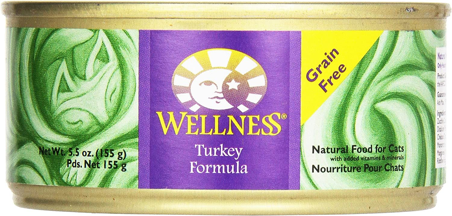 Wellness Natural Pet Food Complete Health Grain Free Wet Canned Cat Food, Turkey, 5.5 Ounce (Packaging may vary)
