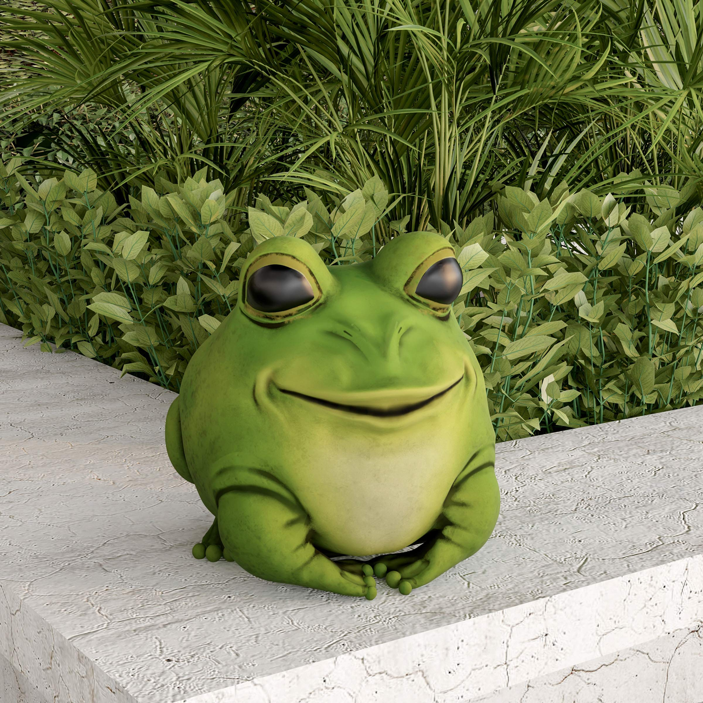 Pure Garden 50-LG1096 Frog Statue-Resin Chubby Animal Figurine for Outdoor Lawn Decor for Flower Beds, Fairy Gardens, Backyards and More