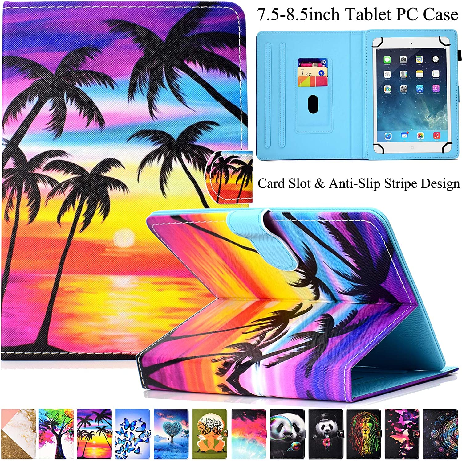Universal 7.5-8.5 inch Tablet Case, Artyond Multi-Angle Stand Case with Cards Slots Magnetic Buckle Cover for iPad Mini,Kindle,Android,Galaxy Tab & Other 7.5-8.5 inch Tablet (Coconut Tree)