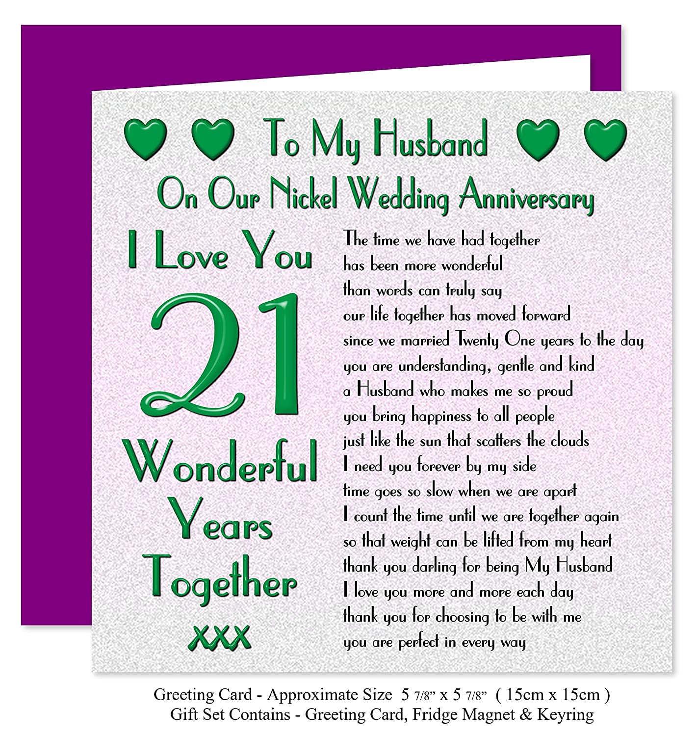 21st Wedding Anniversary.My Husband 21st Wedding Anniversary Gift Set Card Keyring Fridge Magnet Present On Our Nickel Anniversary 21 Years Sentimental Verse I Love