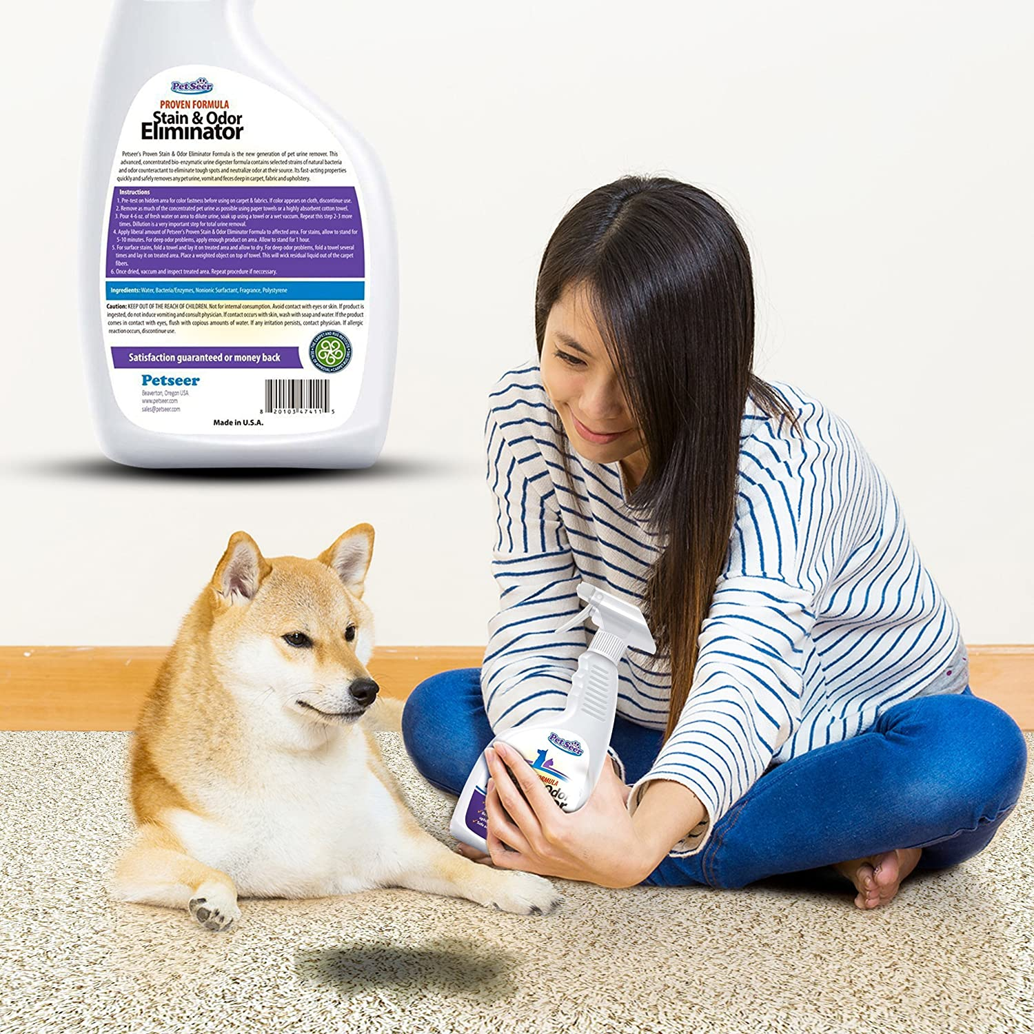 Amazon.com : Petseer Pet Odor Eliminator And Stain Remover, Stop Cats From  Peeing And Dog Re Marking, 32 Oz. : Pet Supplies
