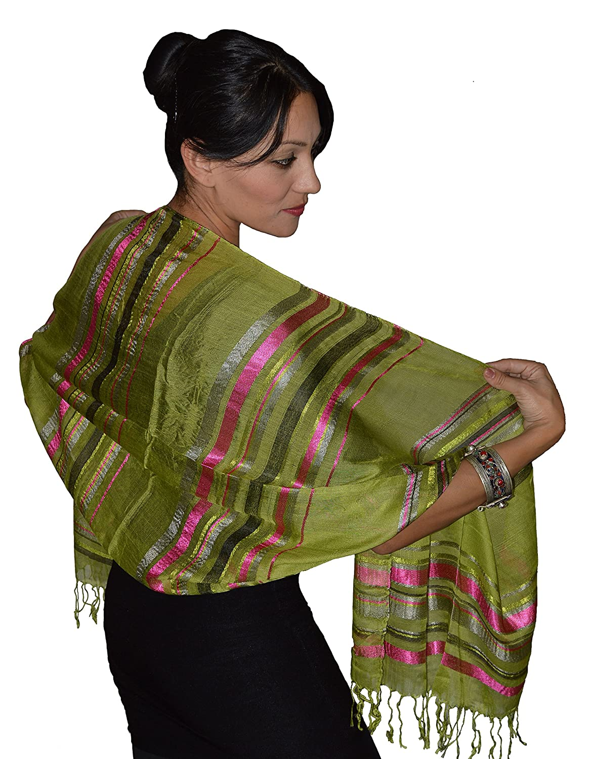 Moroccan Shoulder Shawl Breathable Oblong Head Scarf Silky Soft Exquisite Wrap Green