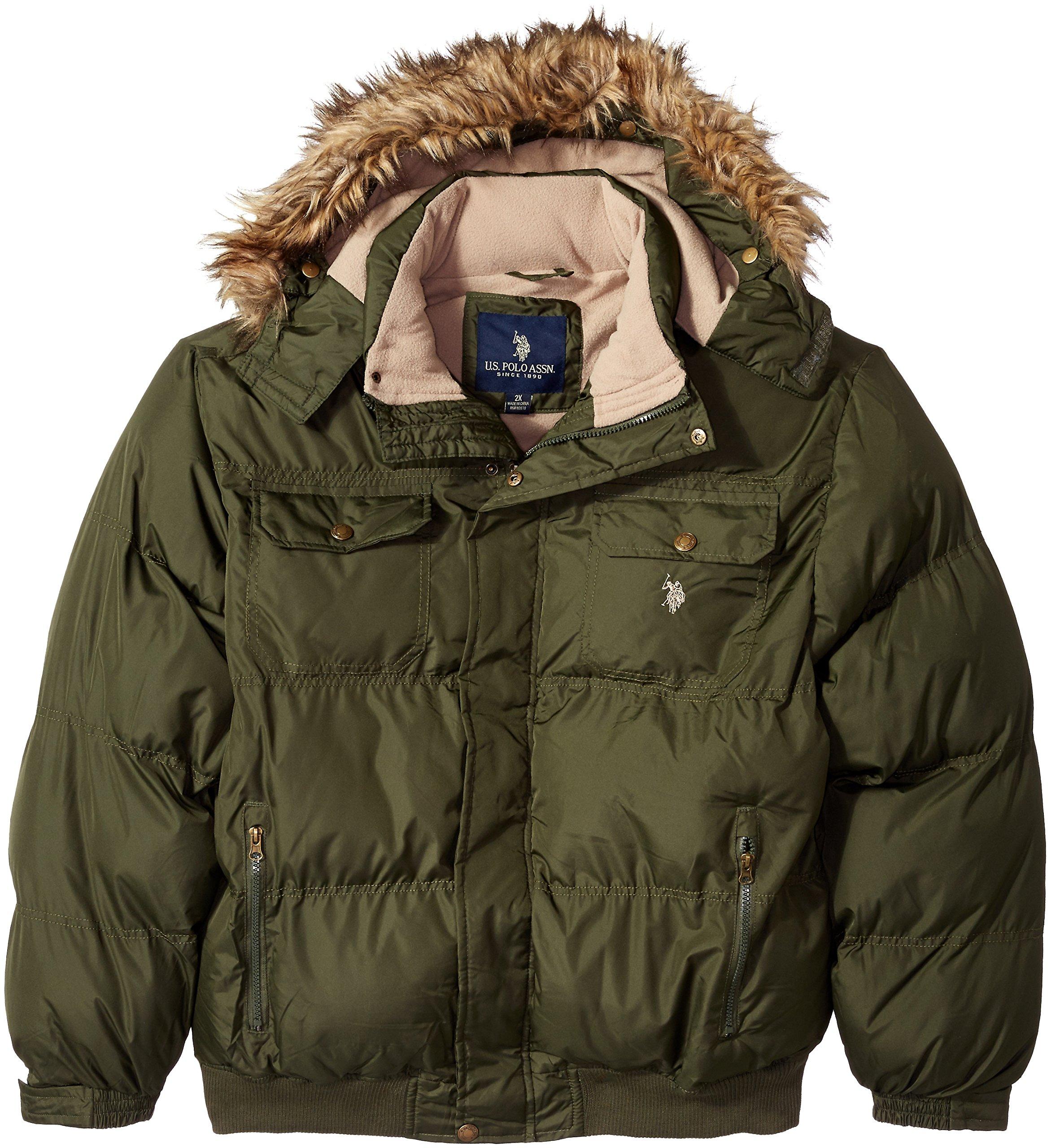 U.S. Polo Assn. Men's Puffer Jacket With Polar Fleece Lining, Forest Night Gjbk, 2X by U.S. Polo Assn.