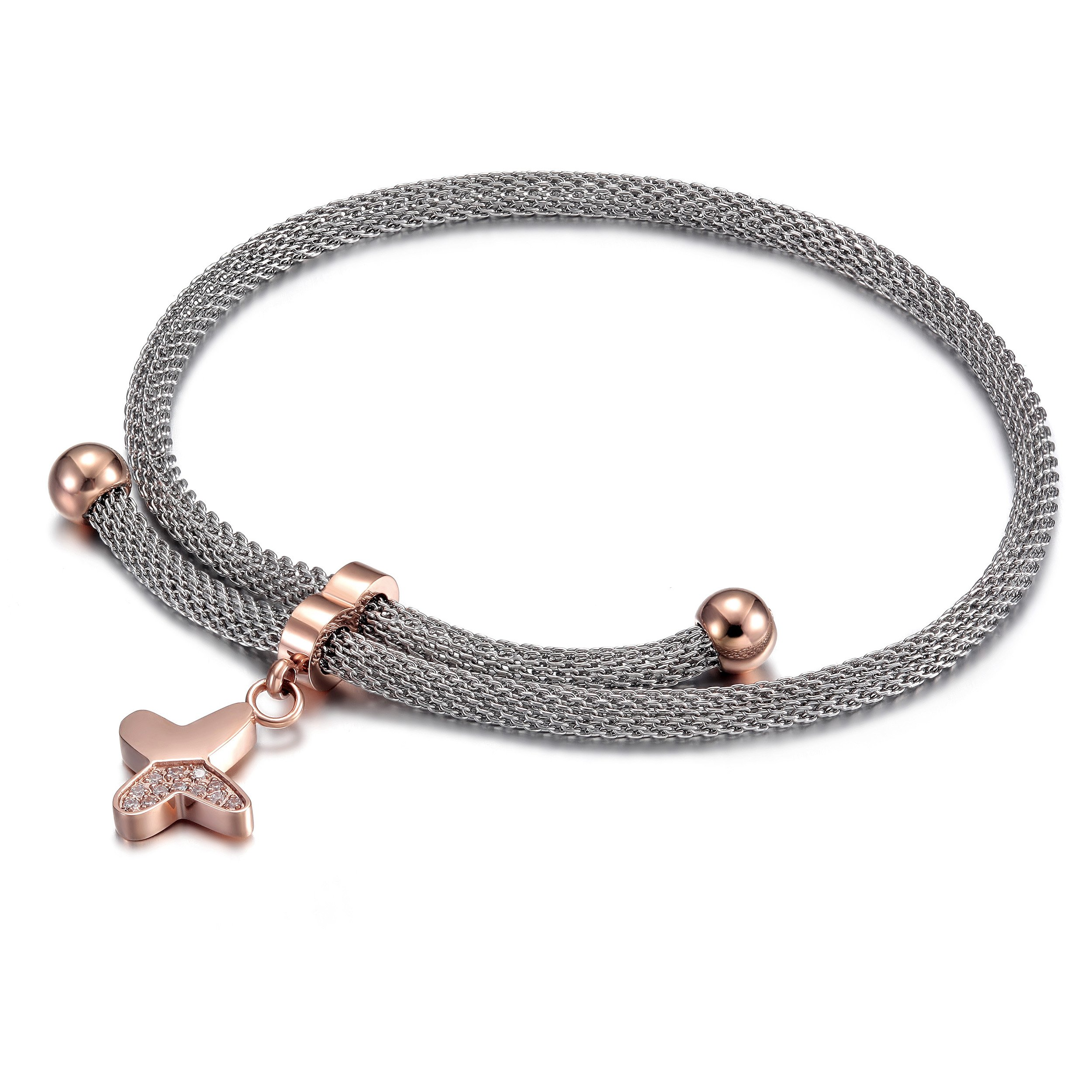 CIUNOFOR Charm Bracelet for Women Girls Chain Link CZ Bracelet with Adjustable 10.24 Inches(Butterfly)