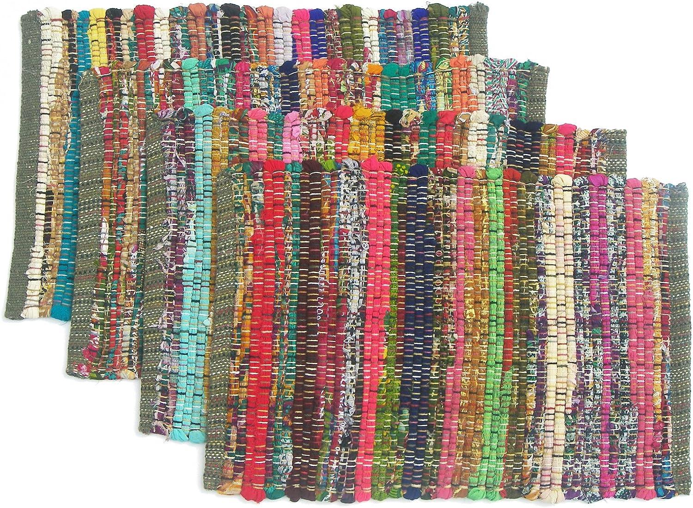 Amazon Com Chardin Home Eco Friendly Rainbow Multi Chindi Placemats Set Of 4 Mats Size 13 X19 Kitchen Dining