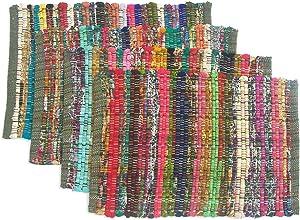 Chardin home Eco Friendly Rainbow Multi Chindi Placemats (Set of 4 mats), Size: 13