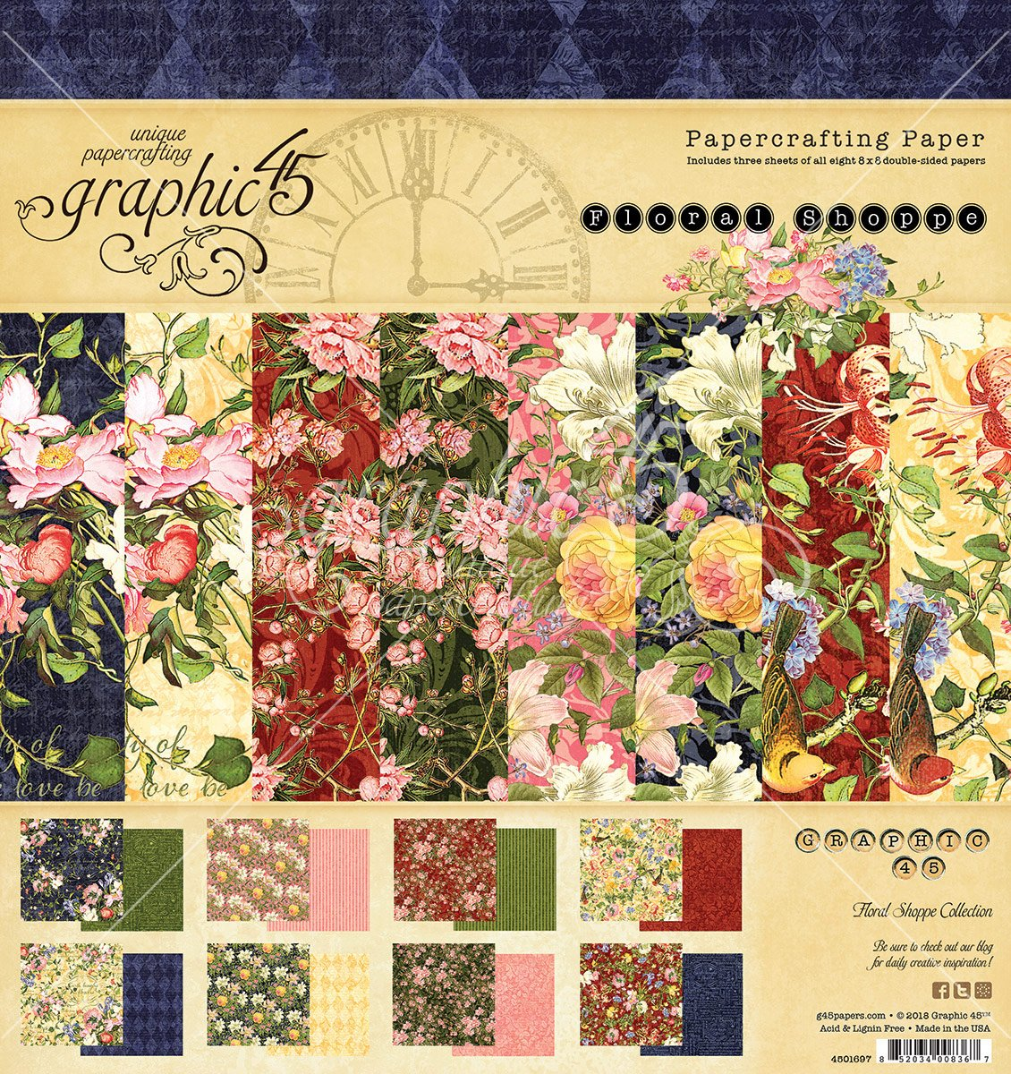 Graphic 45 Floral Shoppe 8x8 Pad (4501697)