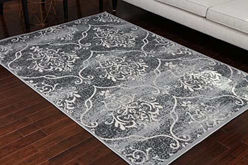 Generations 100 Olefin Contemporary Grey Silver White Modern Anitique Large Trellis Area Olefin Rug Rugs 8058silver 13×16