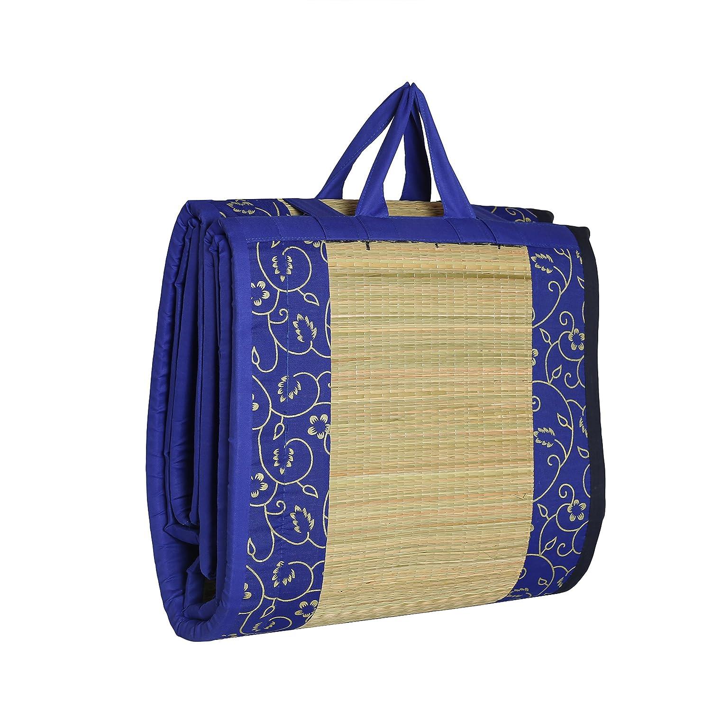 KALA DARSHAN CRAFTS BAZAAR Cotton Happy Sleeping River Grass Foldable Cushion Mat (Blue, 3x6ft)