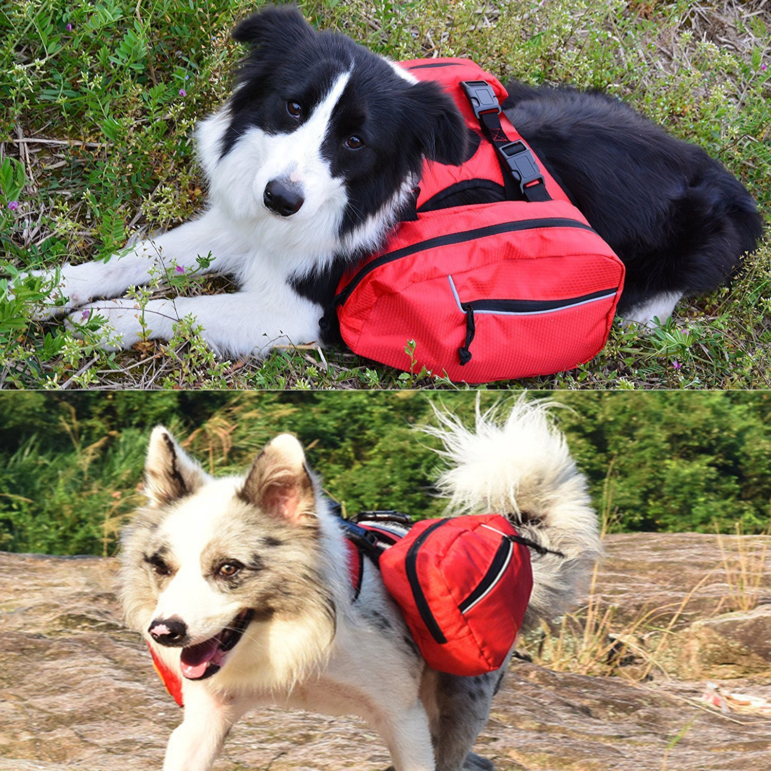 ASOCEA Service Dog vest Harness Saddlebags Backpack with 2 Removable Packs for Travel Camping Hiking Traveling