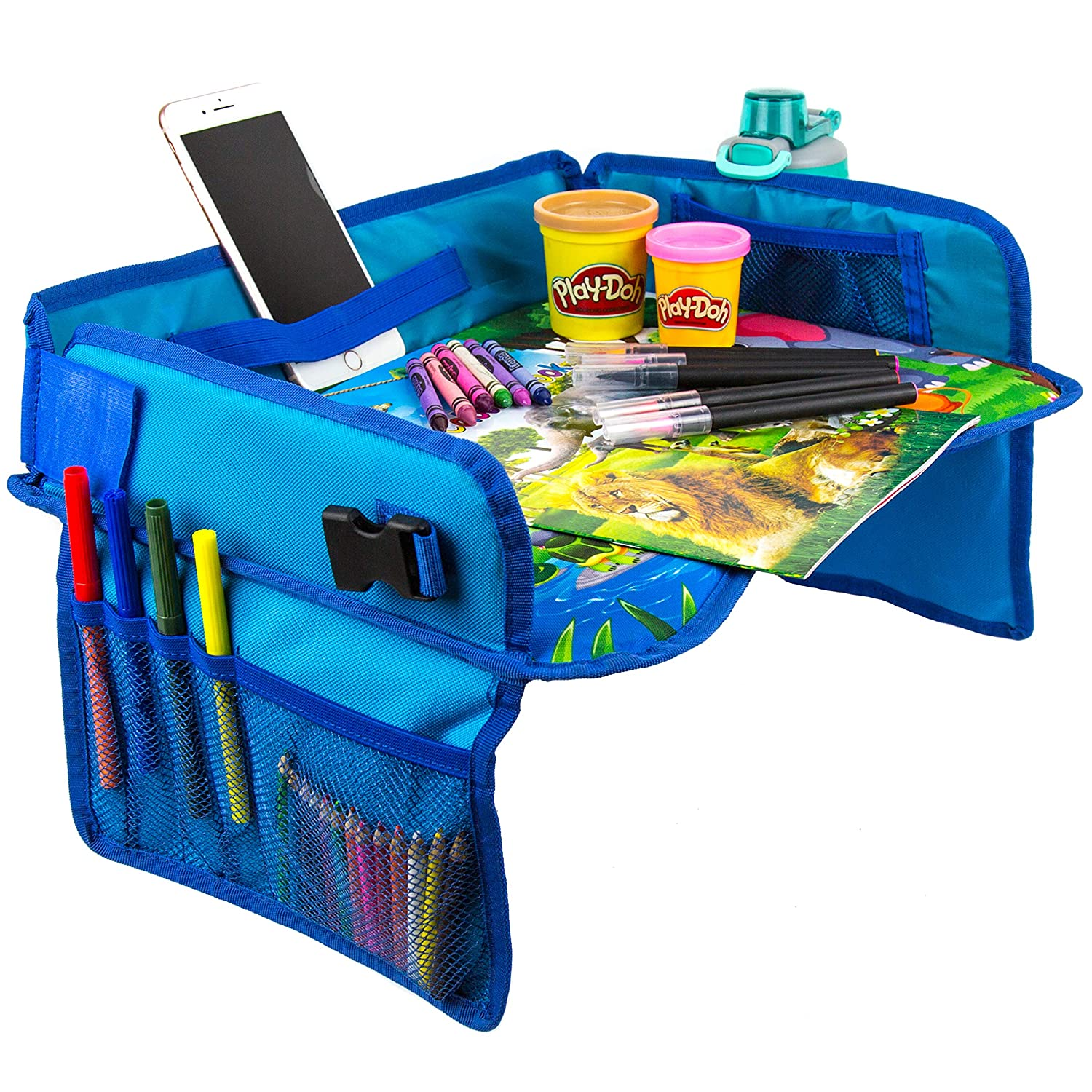 Kids Travel Tray with Coloring Activity Set by BO Innovation | Premium Child Play Tray for Car, Stroller, Plane | Toddler Car Seat Tray Organizer | EXCLUSIVE Coloring Book + Pencils Gift Set