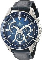 """Casio De los hombres""""Edifice cuarzo acero inoxidable y piel reloj automático, color: azul (Modelo: efr-552l-2avcf)"""