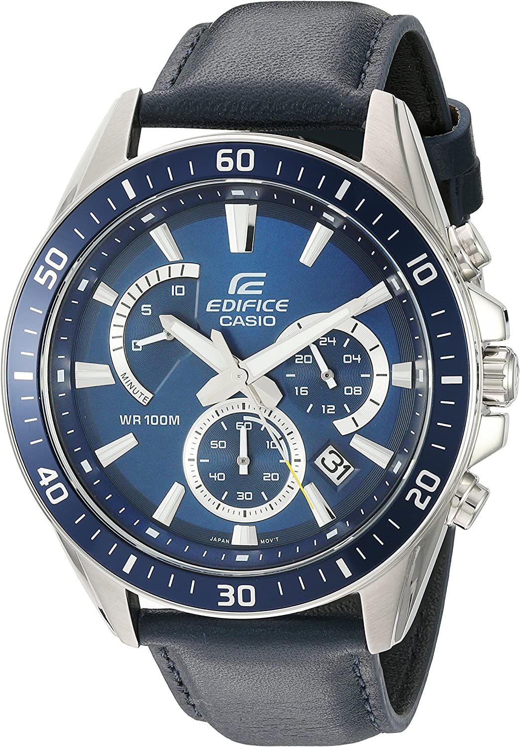 Casio Men s Edifice Quartz Stainless Steel and Leather Watch, Color Blue Model EFR-552L-2AVCF
