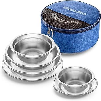 Amazon.com: Wealers - Juego de platos y cuencos de acero ...