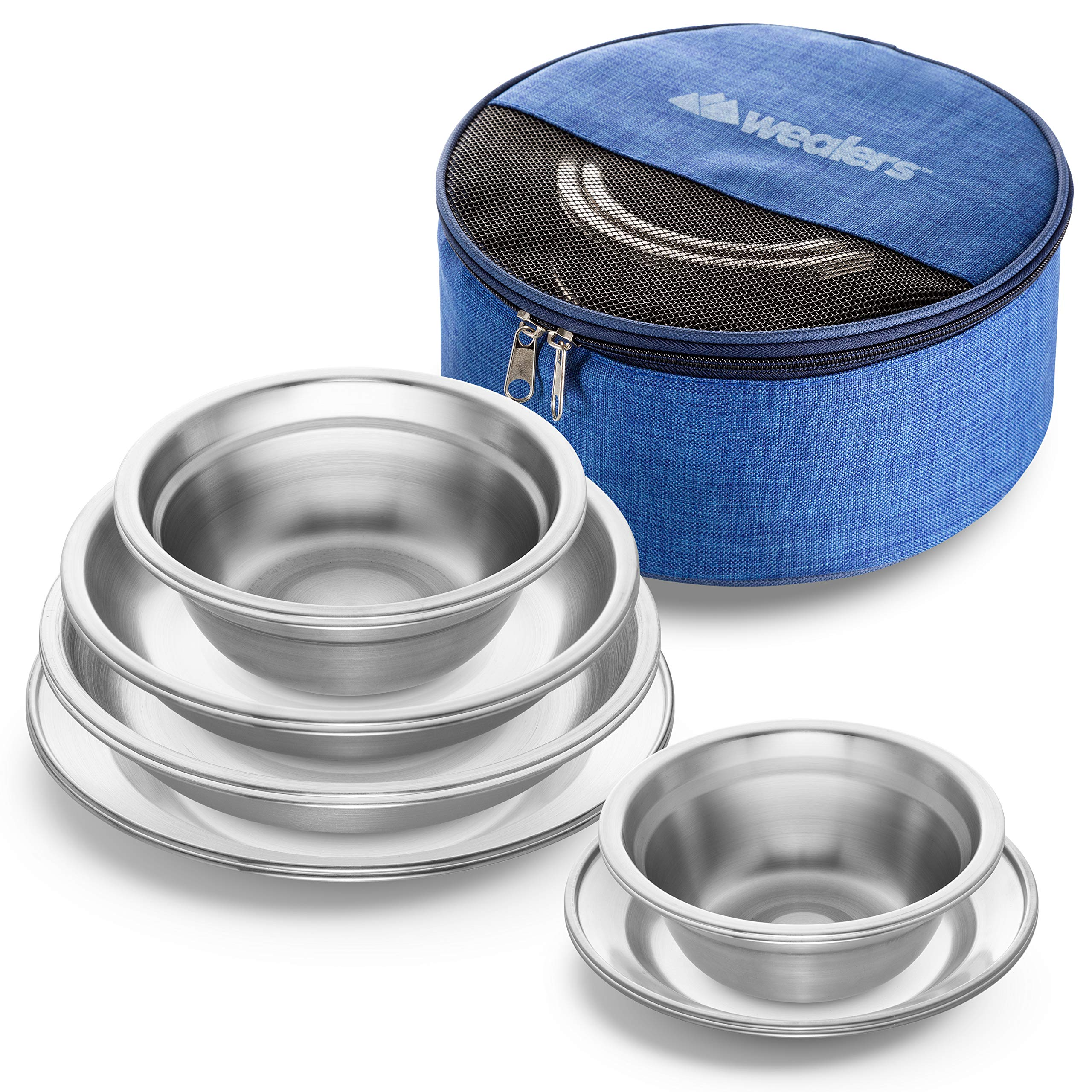 Wealers Stainless Steel Plates and Bowls Camping Set (12-Piece Kit) Small and Large Dinnerware for Kids, Adults, Family | Camping, Hiking, Beach, Outdoor Use | Incl. Travel Bag by Wealers