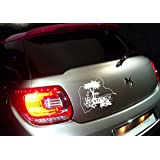 Sticker voiture palmier guadeloupe 971 (Blanc)