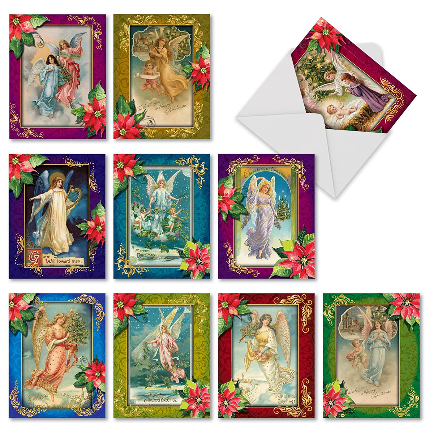 Angels Christmas Cards.Christmas Angels Blank Holiday Cards Boxed Set Of 10 Vintage Inspired Heavenly Messengers Christmas Cards 4 X 5 12 Inch Assorted Colorful Angel And